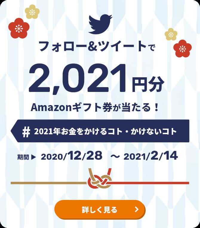 フォロー&ツイートで2,021円分Amazonギフトが当たる! #2021年お金をかけるコト・かけないコト 期間 2020/12/28〜2021/2/14 詳しく見る